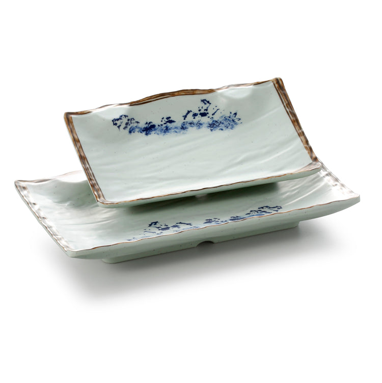 9.3 Inch Blue with Brown Rim Melamine Rectangular Plates JM16976YYJN