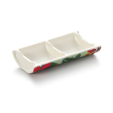 6.3 Inch 2 Compartment Bamboo Shape Melamine Sauce Dish 19002Hnzc