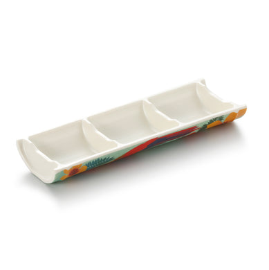 9.3 Inch 3 Compartment Bamboo Shape Melamine Sauce Dish 19003HNZC
