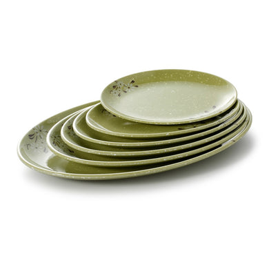 7.95 Inch Green Flower Oval Melamine Charger Plates 63008XCJ