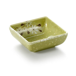 3 Inch Green Flower Melamine Square Sauce Dish 74003XCJ