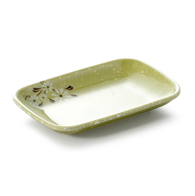 5.5 Inch Green Flower Melamine Rectangular Plate 804855XCJ