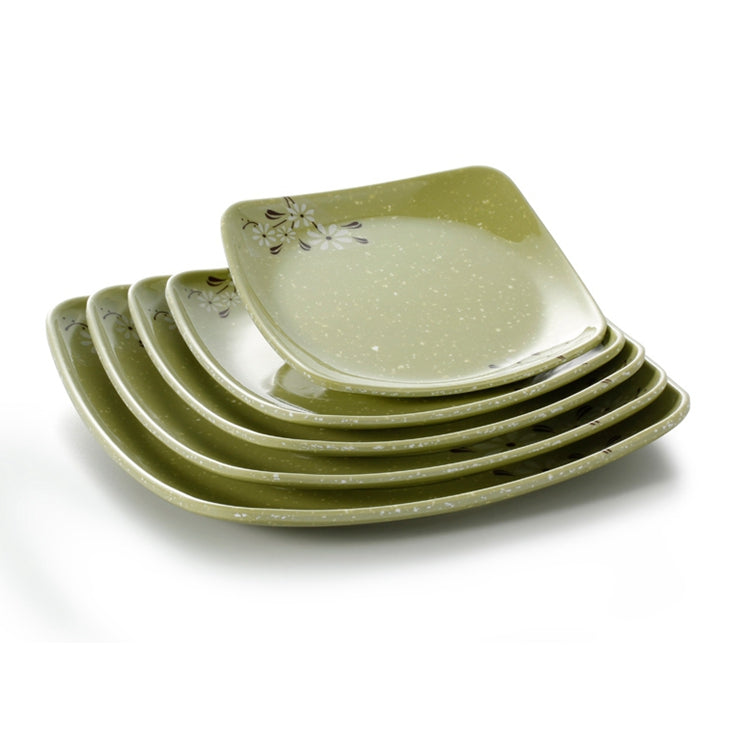 6.5 Inch Green Flower Square Melamine Dinner Plate 88065XCJ