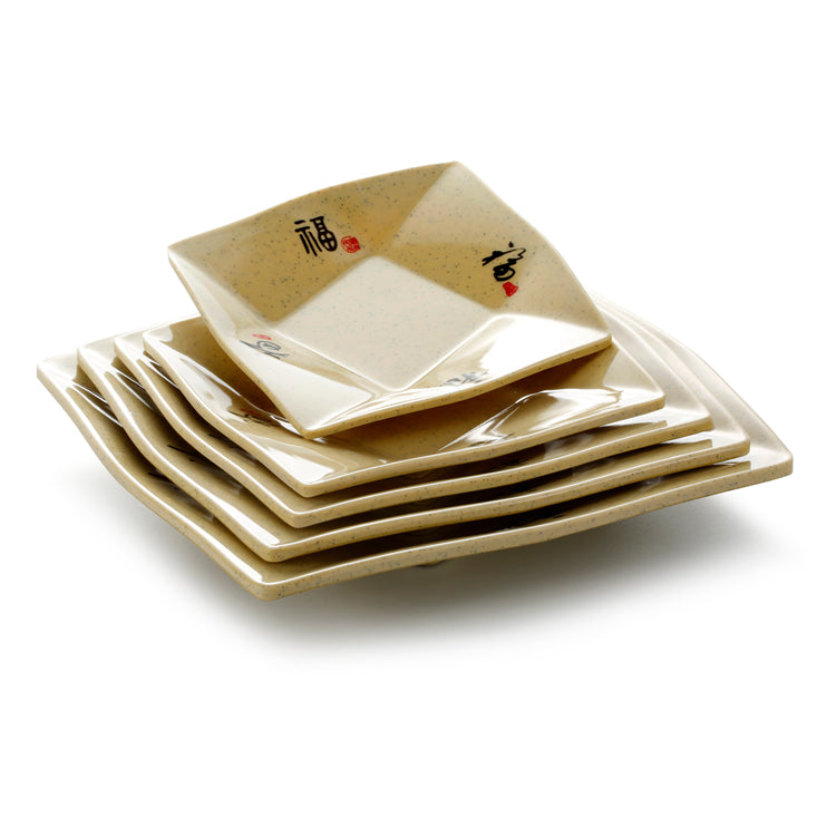 6 Inch Yellow Square Melamine Dinner Plates 87006CSF