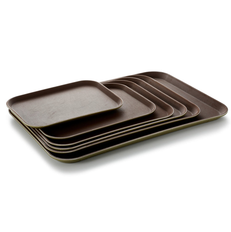 25X35cm Brown Plastic Restaurant Serving Tray Set 1014TP-WH-MT
