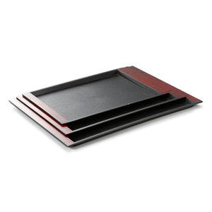 38X24cm Black Rectangle Plastic Serving Tray With Handles JB08TPHS