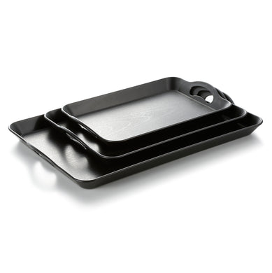 Black Rectangle Restaurant Serving Tray With Handles JB610TPHS
