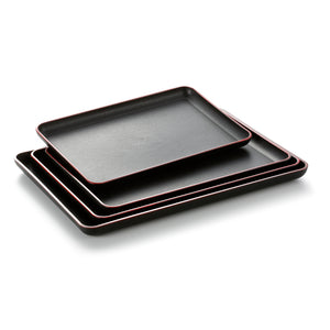 30X20cm Black Rectangle bbq Serving Trays With Red Rim JB691TPHOBH