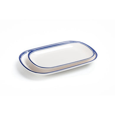 New Blue Rimmed Melamine Oval Restaurant Serving Plates