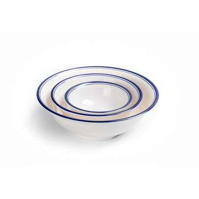6 Inch Blue Rimmed Melamine Round Serving Bowl