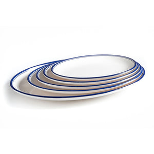 New Blue Rimmed Melamine Oval Dinner Plates Set