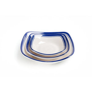 New 4 Inch Blue Rimmed Small Melamine Food Plates