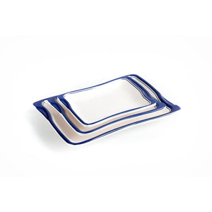 New Blue Rimmed Restaurant Melamine Food Serving Plates