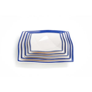 New Blue Rimmed 6 Inch Restaurant Melamine Dinner Plates