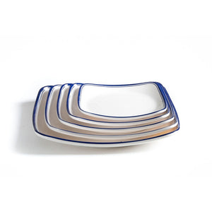New Blue Rimmed Melamine Dinner Square Plates