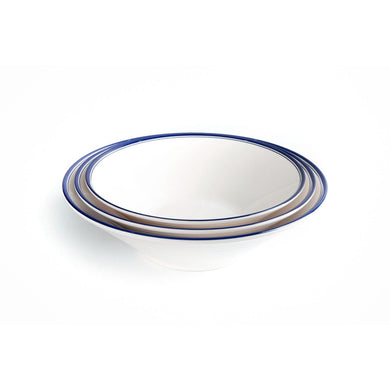 New Blue Rimmed Large Melamine Noodle Bowl