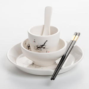 Shrimp Design Chinese Food Restaurant 4 PCS Dinner Set QSX