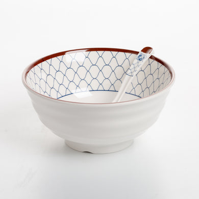 Netting Design Melamine Bowl And Spoon Set WWSS