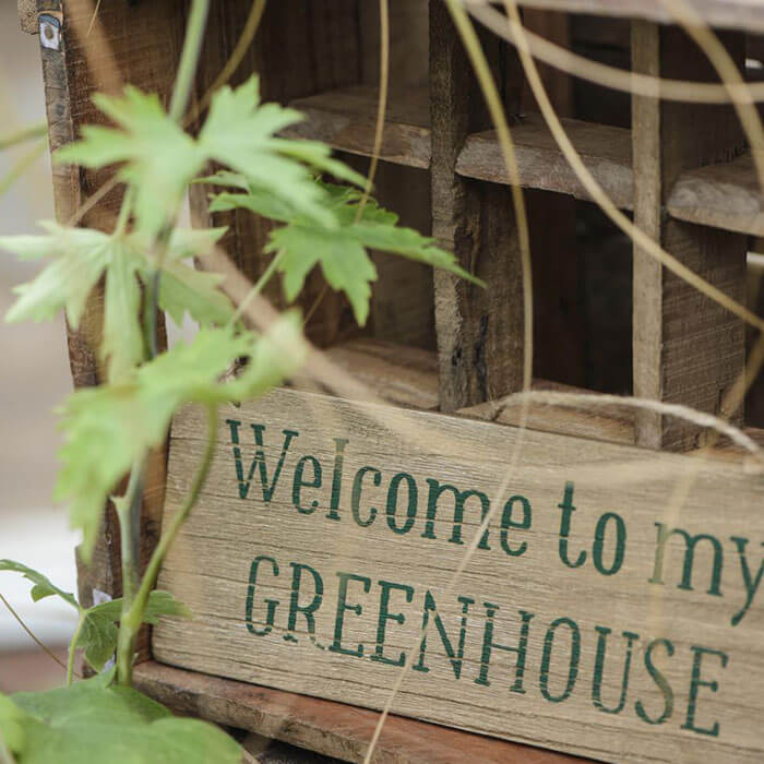 Træskilt | Welcome to my greenhouse