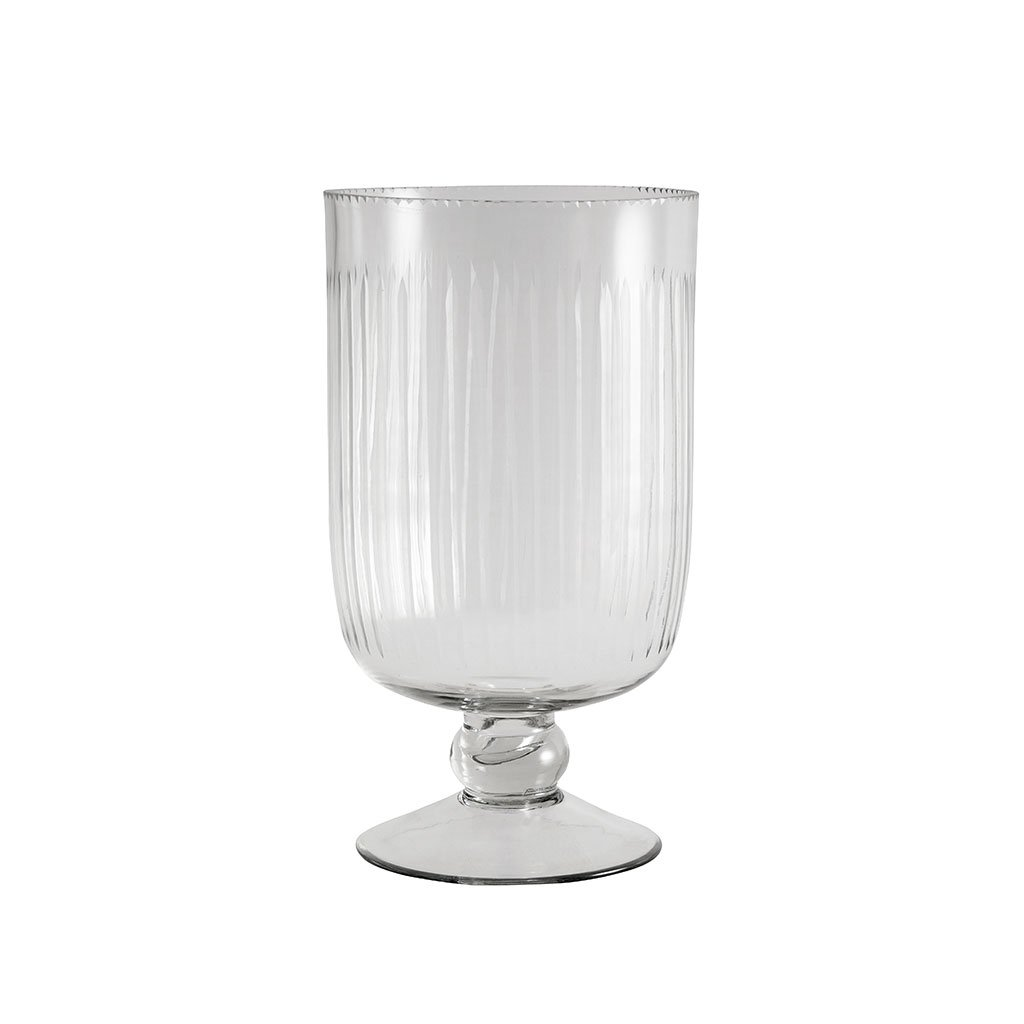 Vaser - Cylinder Vase On Base W/stripes, Clear