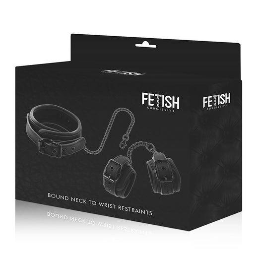 Fetish submissive collar y esposas cuero vegano