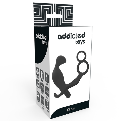Addicted toys plug anal con anilla doble pene y testiculos negro