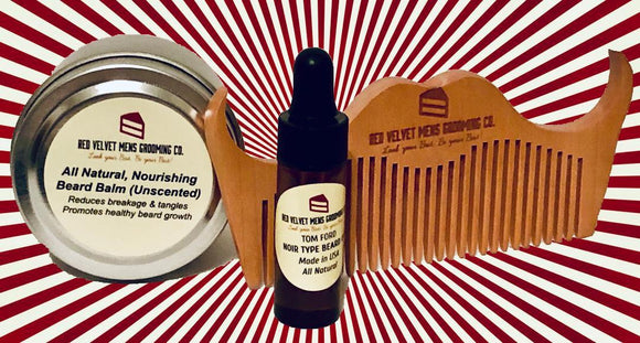 BEARD BUNDLE - One (1) Of Each - 2oz. Beard Balm/Peach Wood Comb/.13oz Beard Oil of YOUR Choice