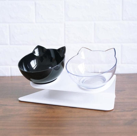 pet food water feeder bowl tilted design neck guard stand raised
