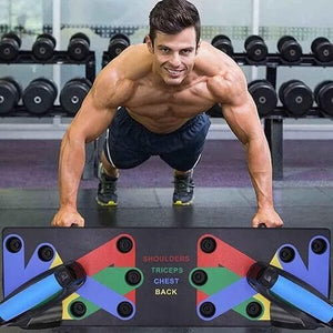 a man workout with 9 in 1 push up board
