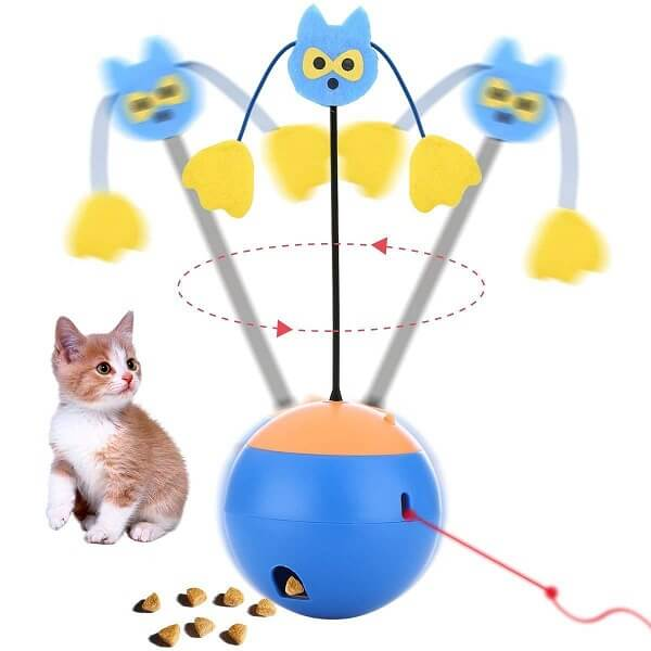 all-in-one twirling interactive cat toys blue