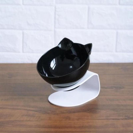 anti-skid tilting neck protective double cat food water bowls size