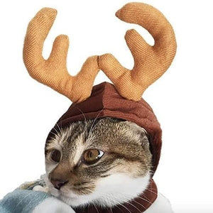 cat christmas costumes deer head cat warm clothing