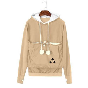 Cozy Cat Hoodie With Kangaroo Pouch Khaki [SALE]