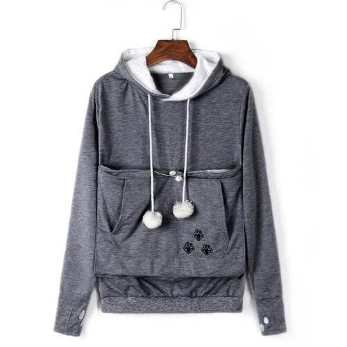 Cozy Cat Hoodie With Kangaroo Pouch Dark Gray [SALE]