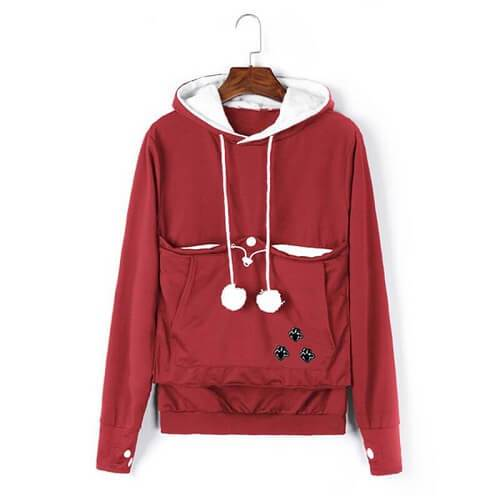 Cozy Cat Hoodie With Kangaroo Pouch Red [SALE]