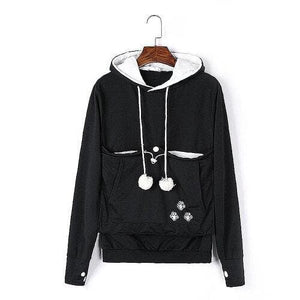 Cozy Cat Hoodie With Kangaroo Pouch  Black [SALE]