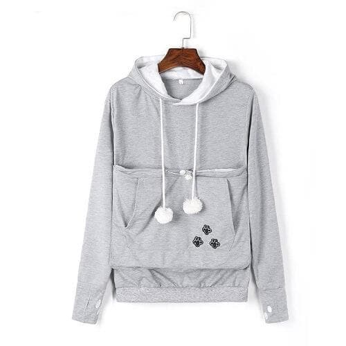 Cozy Cat Hoodie With Kangaroo Pouch Light Gray [SALE]
