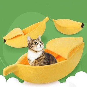 banana cat bed warm soft kennel for cats kittens