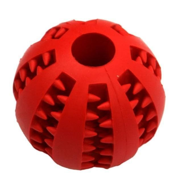 dog treat toy food dispensing training ball red