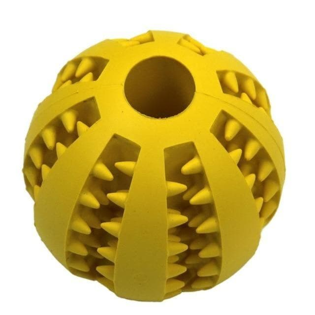 dog treat toy food dispensing training ball yellow