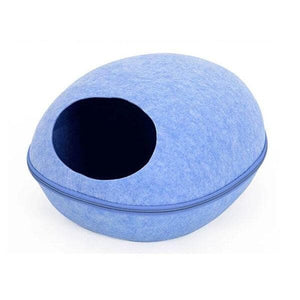 cocoon felt cat caves bed for indoor cats and kittens blue