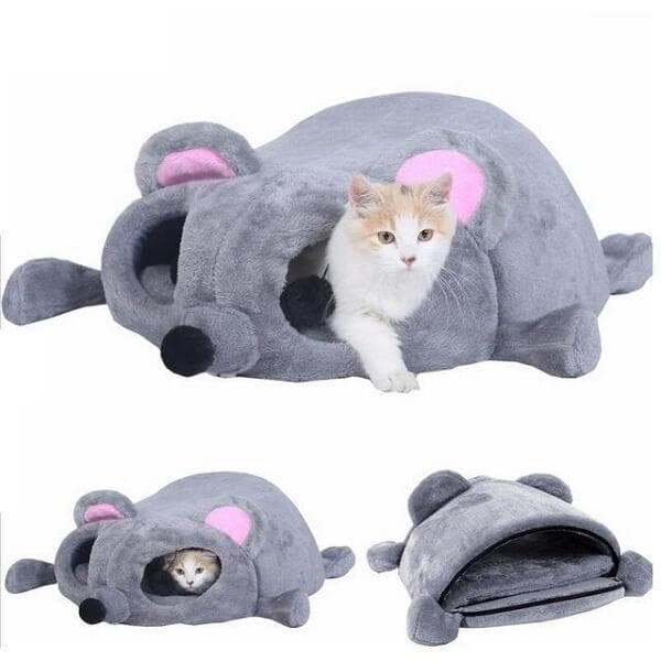 funny mouse cat cave winter warming kitten nest