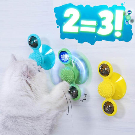 windmill cat toy 5-in-1 two detachable balls with lights and catnip