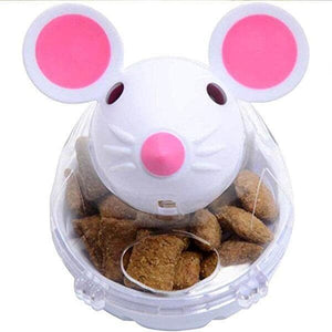 white cute mouse treat dispenser for cat pet