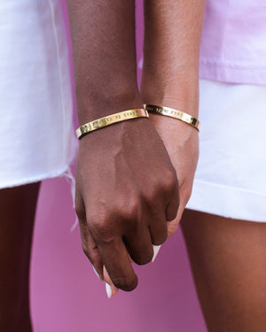 'ITS COOL TO BE KYND' BRASS BRACELET