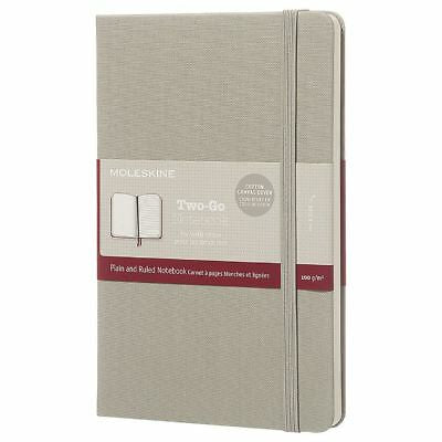 Moleskine Two-Go Notebook Canvas Cover Ruled + Plain Medium Ash Grey - Pencraft the boutique
