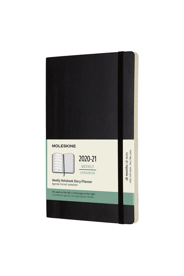 Moleskine 2020-2021 18 Month Soft Cover Diary Weekly Notebook Large Black - Pencraft the boutique