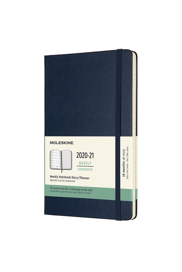 Moleskine 2020-2021 18 Month Hard Cover Diary Weekly Notebook Large Sapphire Blue - Pencraft the boutique