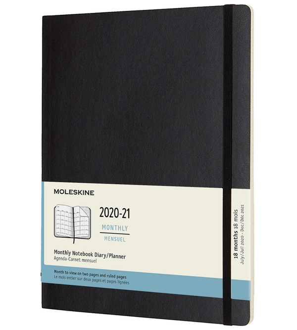 Moleskine 2020-2021 18 Month Soft Cover Diary Monthly Extra Large Black - Pencraft the boutique