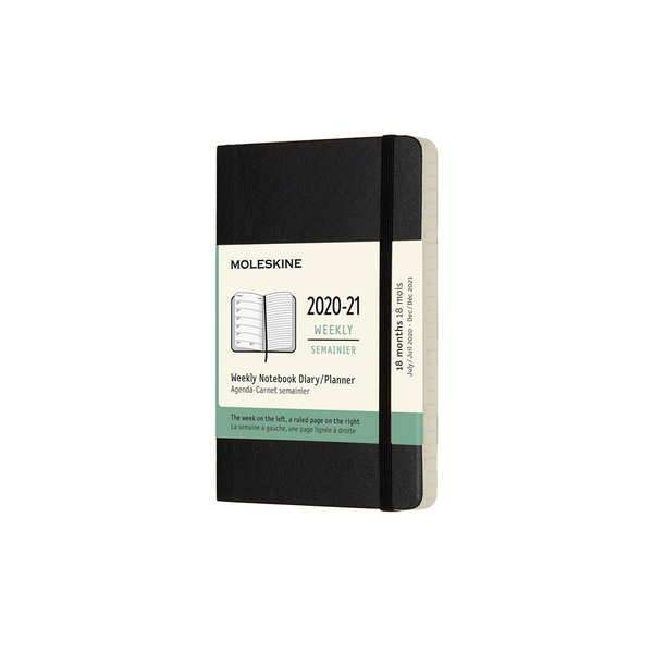 Moleskine 2020-2021 18 Month Soft Cover Diary Weekly Notebook Pocket Black - Pencraft the boutique